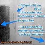 """Une feuille de """"calque-carbone"""" pliée en deux, avec une moitié protégeant l'autre. Photo : ©Richard Martens."""