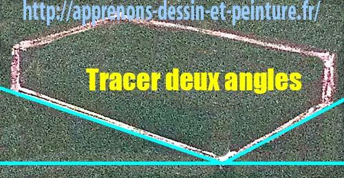 Figure 7 : silhouette d'un parallélépipède rectangle (hexagone) plus une horizontale imaginaire contre l'angle inférieur, CE QUI GÉNÈRE DEUX ANGLES, par Richard Martens.