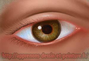 Peinture numérique d'un oeil imaginaire, par Richard Martens, sur une tablette graphique.