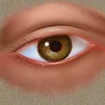 Extrait d'une peinture numérique d'un oeil imaginaire, par Richard Martens, sur une tablette graphique.