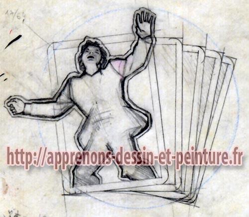 Calque final du personnage et des cartes pour la peinture à l'aérographe réalisée par Richard Martens pour le livre « Folies de Flic » de Georges Patrick.