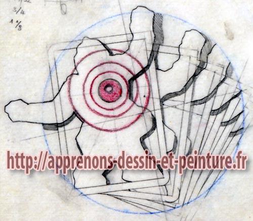 Calque final de la silhouette, de la cible et des cartes, pour la peinture à l'aérographe réalisée par Richard Martens pour le livre « Folies de Flic » de Georges Patrick.