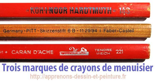 Gros plan de trois marques de crayons de menuisier. Photo : ©Richard Martens.