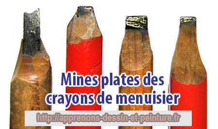 Gros plan des mines plates des crayons de menuisier. Photo : ©Richard Martens.