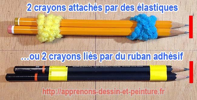 """Deux crayons """"attachés"""" ensemble, de deux manières différentes. Photo : Richard Martens"""