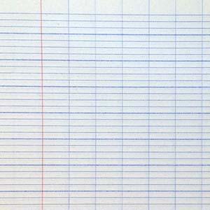 Papier blanc à petits carreaux, et à fines lignes régulièrement espacées, pour l'écriture.